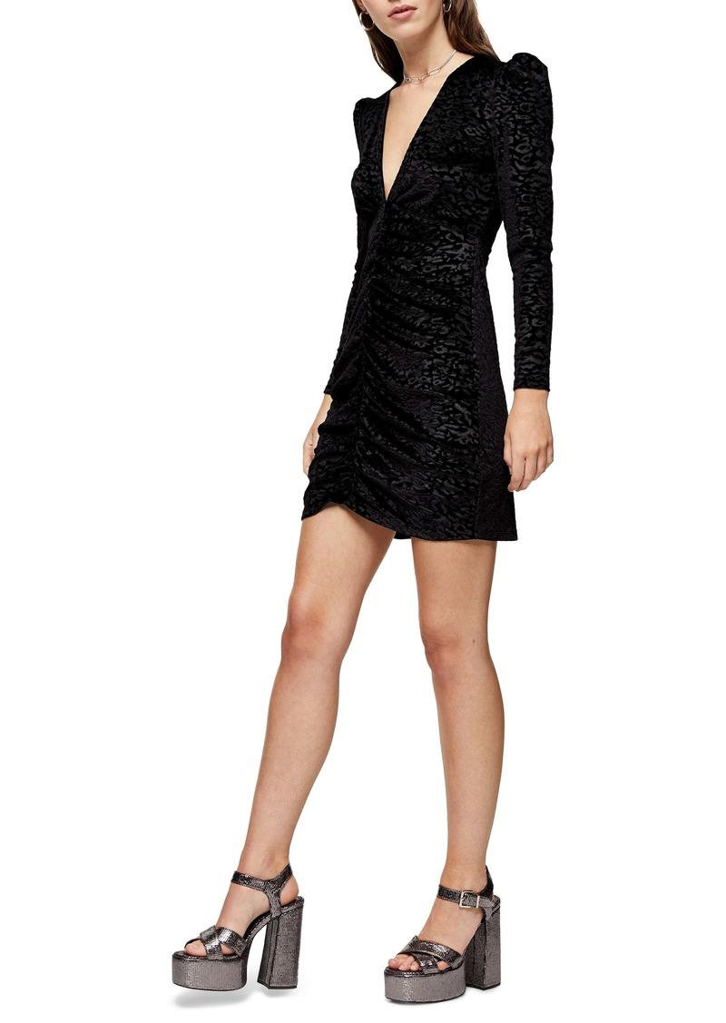 Topshop Animal Jacquard Long Sleeve Velvet Minidress