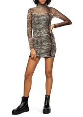 Topshop Animal Mesh Mini Long Sleeve Body-Con Dress