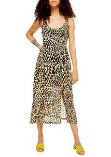 Topshop Animal Mesh Sleeveless Midi Dress (Petite)