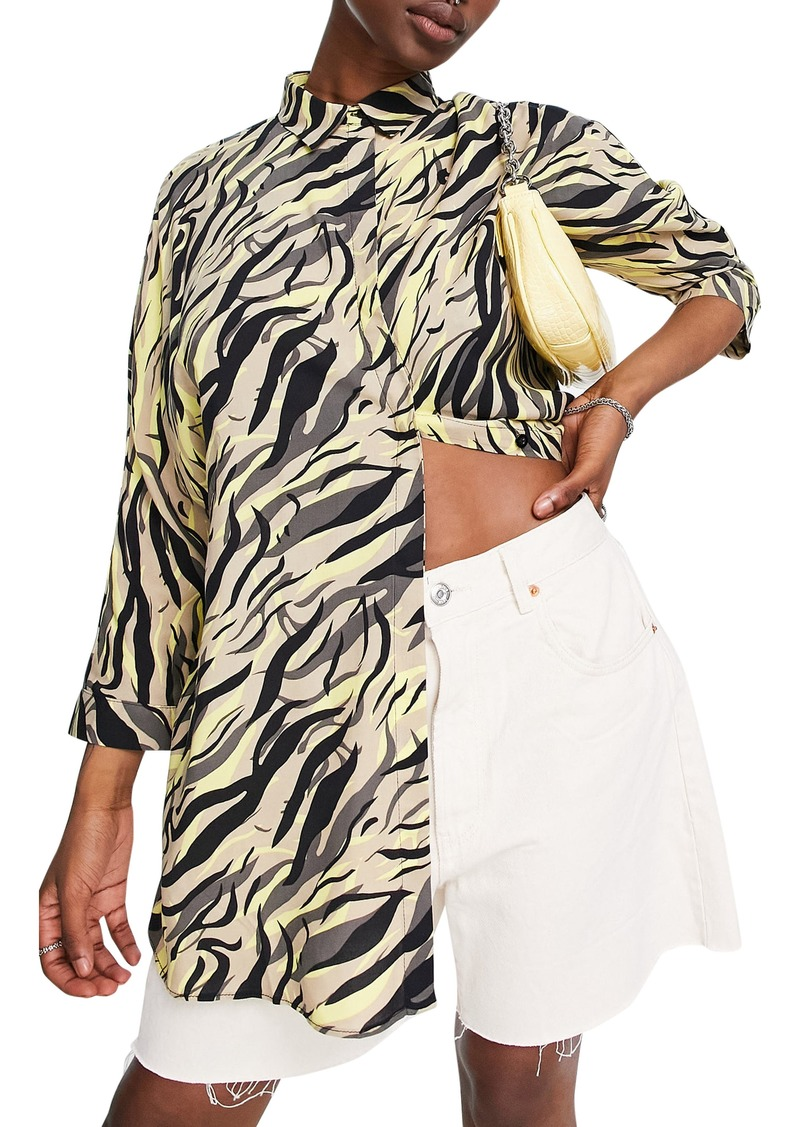 Topshop Animal Oversize Button-Up Shirt