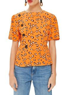 Topshop Animal Print Button Blouse