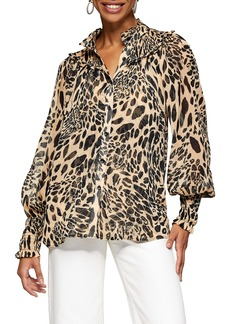 Topshop Animal Print Chiffon Top