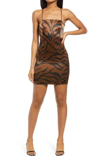 Topshop Animal Print Fitted Satin Slipdress