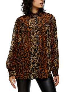 Topshop Animal Print Flocked Oversize Blouse