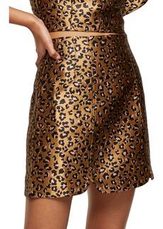 Topshop Animal Print Jacquard Skirt