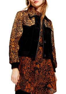 Topshop Animal Print Leather Jacket
