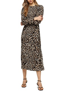 Topshop Animal Print Long Sleeve Midi Dress
