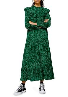 Topshop Animal Print Long Sleeve Prairie Dress