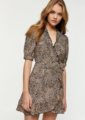 Topshop animal print mini wrap dress in beige