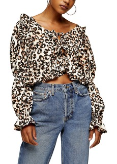 Topshop Animal Print Peplum Tea Top