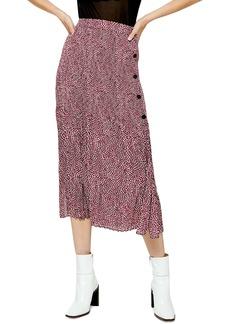 Topshop Animal Print Pleated Midi Skirt