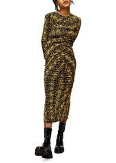 Topshop Animal Print Ruched Long Sleeve Jersey Midi Dress
