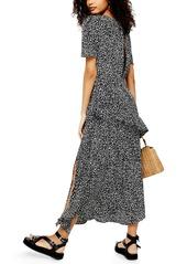 Topshop Animal Print Ruffle Dress