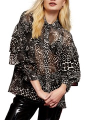Topshop Animal Print Ruffle Sleeve Blouse