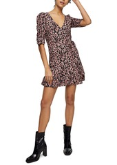 Topshop Animal Print Ruffle Wrap Minidress