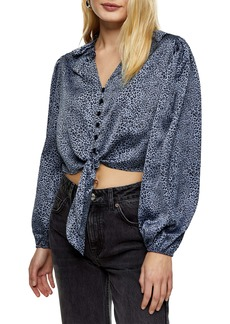 Topshop Animal Print Satin Tie Crop Top