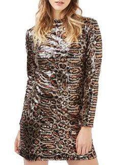 Topshop Animal Print Sequin Body-Con Dress