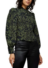 Topshop Animal Print Slim Seamed Button-Up Shirt