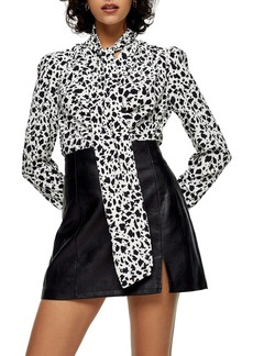 Topshop Animal Print Tie Neck Blouse