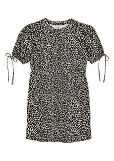 Topshop Animal Print Tie Puff Sleeve Minidress