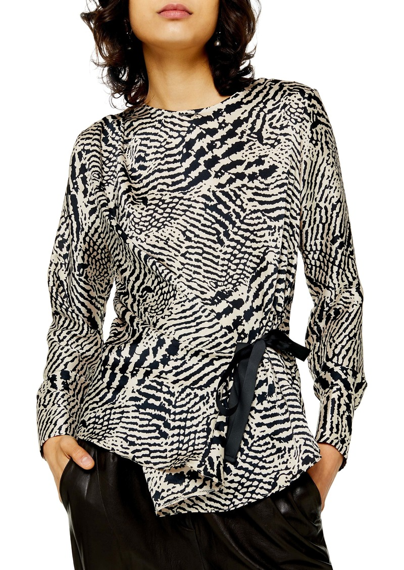 Topshop Animal Print Tie Side Top