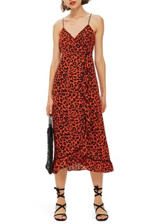Topshop Animal Ruffle Slipdress