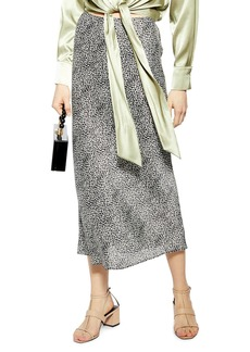 Topshop Animal Spot Bias Midi Skirt (Petite)