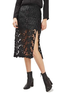 Topshop Appliqué Lace Skirt