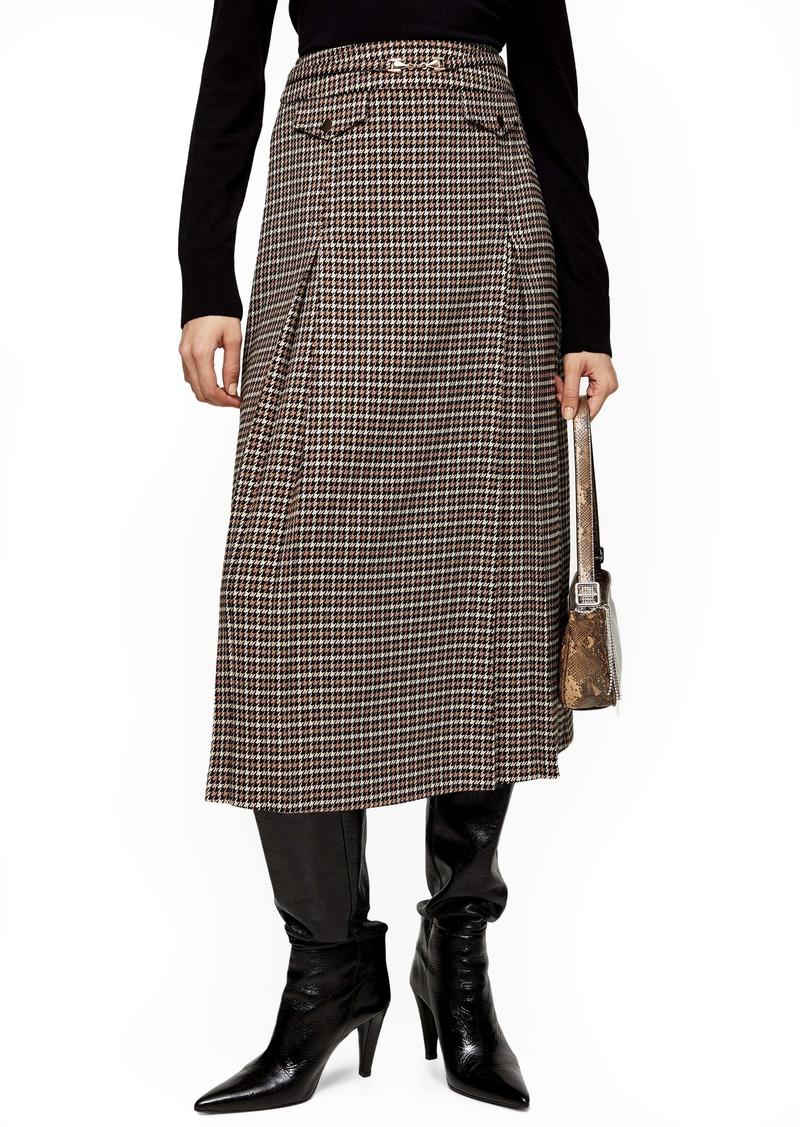 Topshop Archive Check Midi Skirt