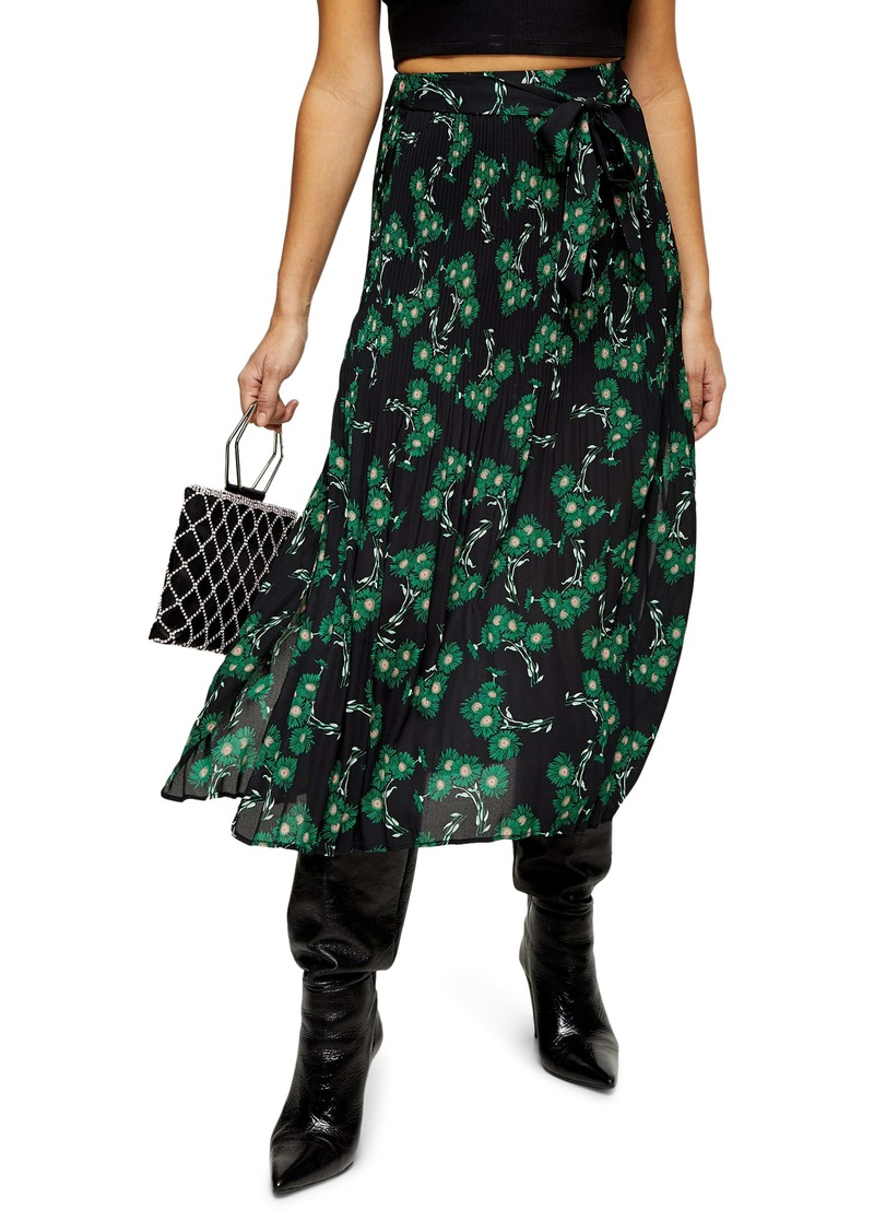 Topshop Archive Crystal Floral Pleated Midi Skirt (Petite)