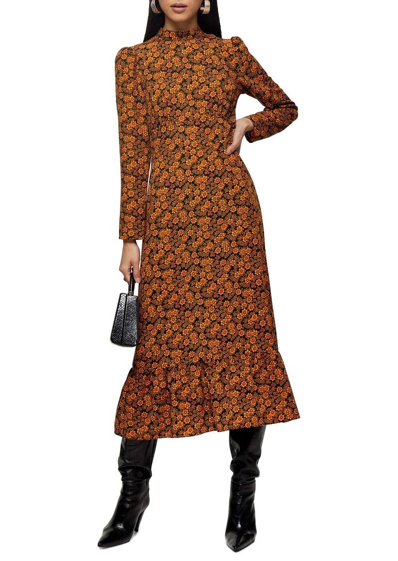Topshop Archive Floral Print Long Sleeve Midi Dress
