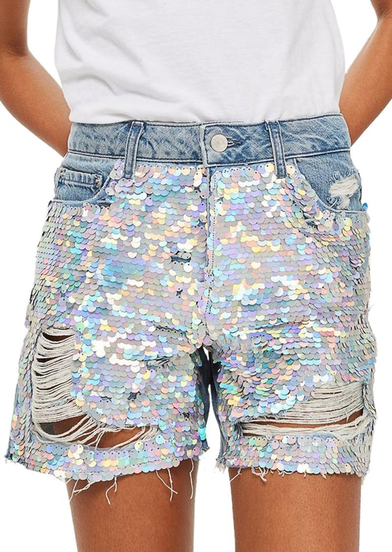 598e58cbc1 SALE! Topshop Topshop Ariel Ashley Sequin Boyfriend Shorts