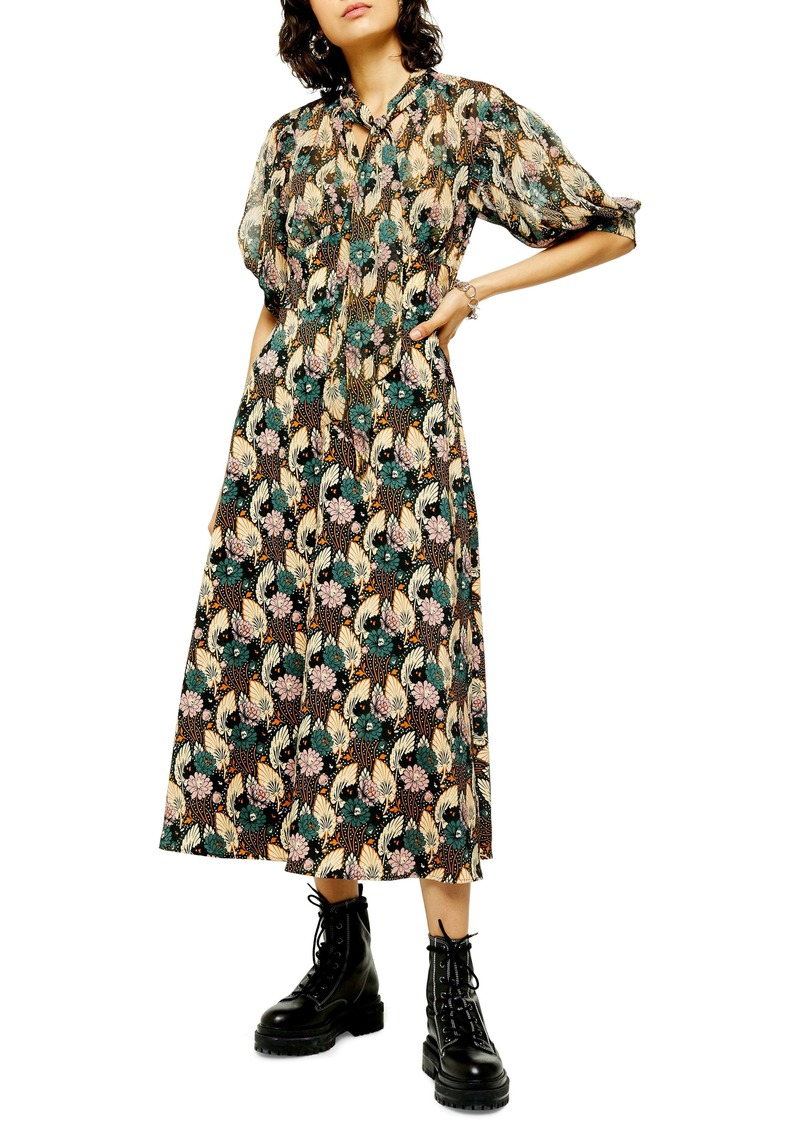 Topshop Art Deco Lily Print Midi Dress