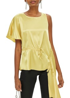Topshop Asymmetrical Satin Blouse