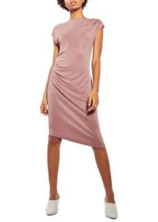 Topshop Asymmetrical Slinky Drape Midi Dress