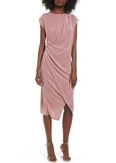 Topshop Asymmetrical Slinky Drape Midi Dress