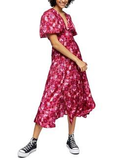 Topshop Aurelia Floral Print Midi Dress
