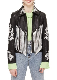 Topshop Austin Floral Silver Fringed Leather Jacket