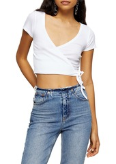 Topshop Ballet Ribbed Wrap Crop Top