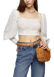 Topshop Balloon Sleeve Lace Crop Top
