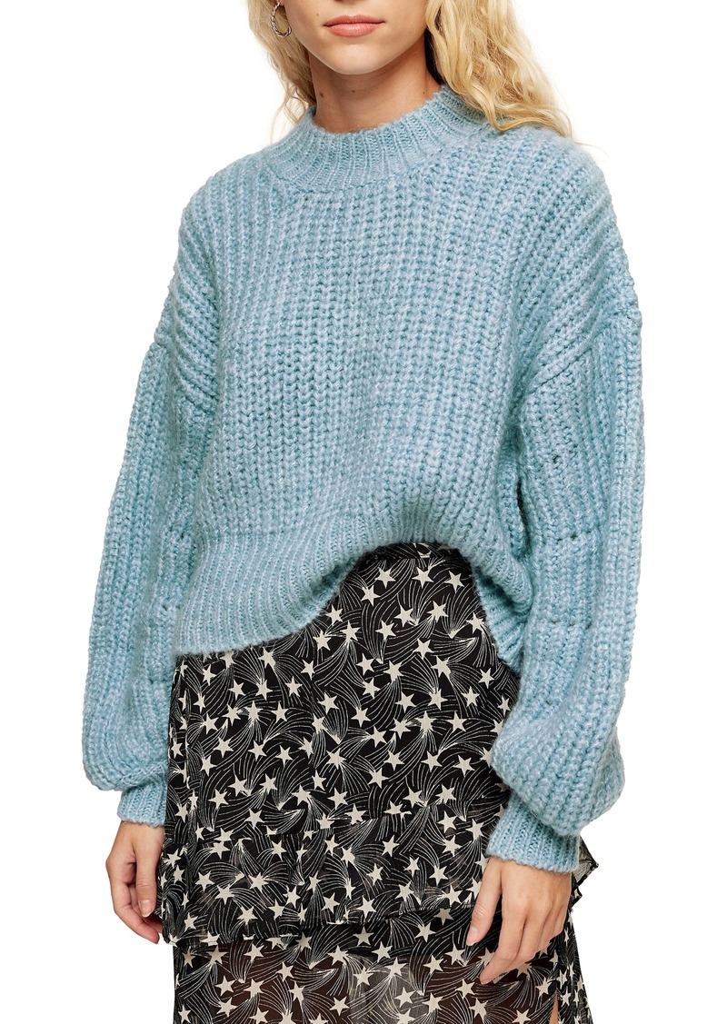Topshop Balloon Sleeve Mock Neck Sweater