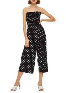 Topshop Bandeau Polka Dot Jumpsuit (Regular & Petite)