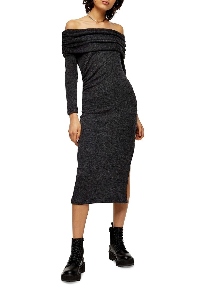 Topshop Off The Shoulder Midi Sweater Dress