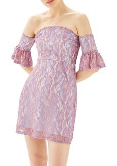 Topshop Bardot Flute Sleeve Lace Dress