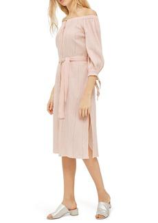 Topshop Bardot Metallic Stripe Dress