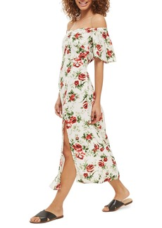 Topshop Bardot Rose Print Midi Dress