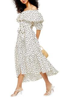 Topshop Bardot Spot Print Asymmetrical Off the Shoulder Dress