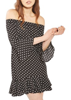 Topshop Bardot Spot Ruffle Dress