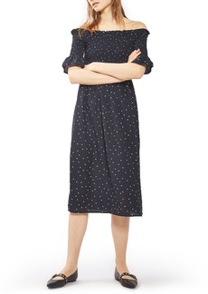 Topshop Bardot Star Smocked Midi Dress