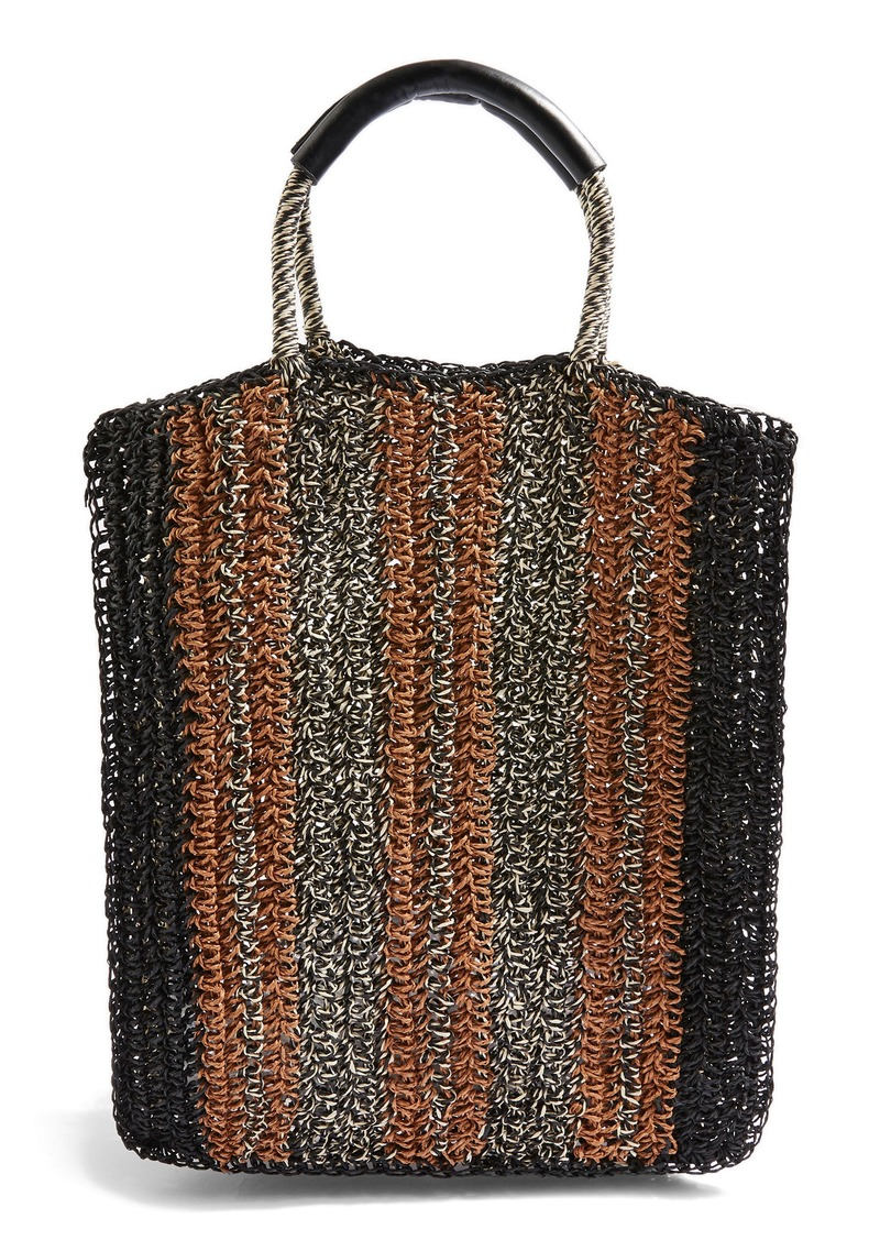 Topshop Bath Stripe Straw Tote Bag